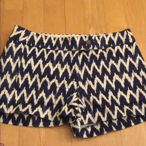 Jcrew ikat blue and off white shorts